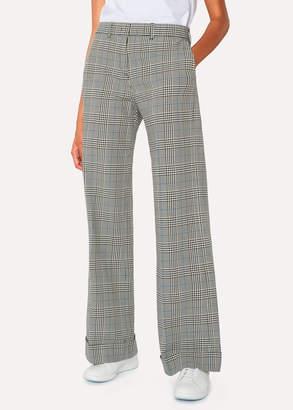 Paul Smith Women's Black And White Check Cotton Wide Leg Pants