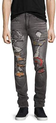 Haculla Post All Bills Distressed Skinny Jeans, Gray