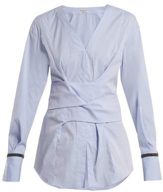 Brunello Cucinelli Embellished Cuff Stretch Cotton Wrap Top - Womens - Blue