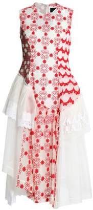 Simone Rocha Paneled Lace Embroidered Tulle And Printed Chiffon Midi Dress