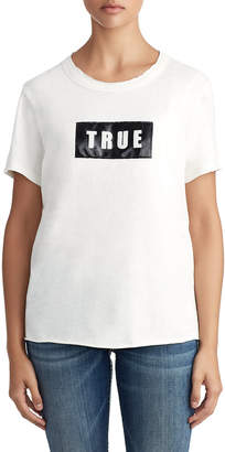 True Religion WOMENS VEGAN LEATHER LOGO TEE