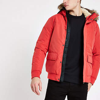 River Island Jack and Jones red faux fur bomber jacket