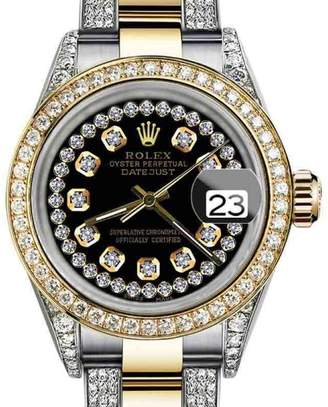 Rolex Datejust Oyster Perpetual Custom set Diamonds Dial Black String 26mm Watch