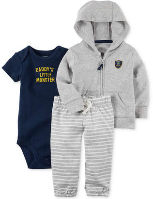 Carter's 3-Pc. Cotton Hoodie, Daddy's Little Monster Bodysuit & Pants Set, Baby Boys (0-24 months) $12.98 thestylecure.com
