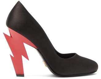 Prada Lightning Bolt Heel Satin Pumps - Womens - Black Red