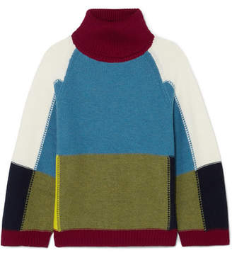See by Chloe Color-block Wool Turtleneck Sweater - Blue