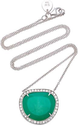 Sara Weinstock 18K White Gold, Chrysoprase And Diamond Necklace