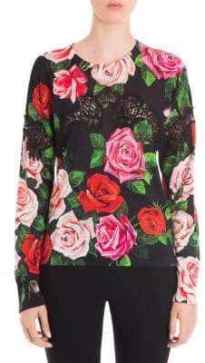 Dolce & Gabbana Lace Inset Rose Print Sweater