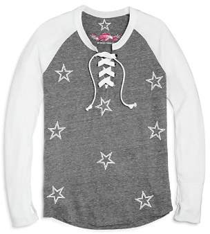 So Nikki... Girls' Star-Print Raglan Lace-Up Tee - Big Kid