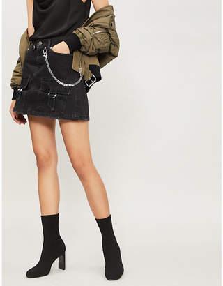 The Kooples Skull-buttons cotton denim mini skirt