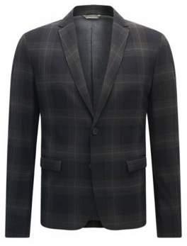 BOSS Hugo Plaid Twill Sport Coat, Slim Fit Benestretch BS 42R Dark Blue