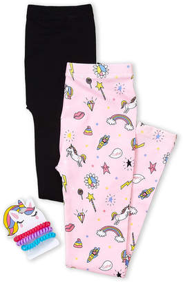 Charlotte Girls 7-16) Two-Pack Fleece-Lined Seamless Leggings & Ponies Set
