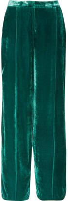 Murad Zuhair Satin-trimmed Velvet Wide-leg Pants - Petrol