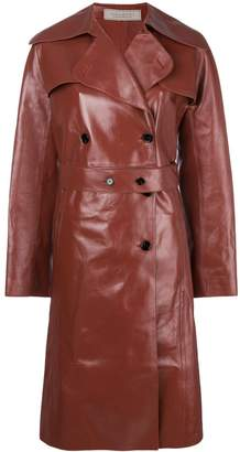 Nina Ricci double breasted leather coat