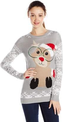 Derek Heart Junior's Reindeer Jacquard Tunic Pullover Ugly Christmas Sweater