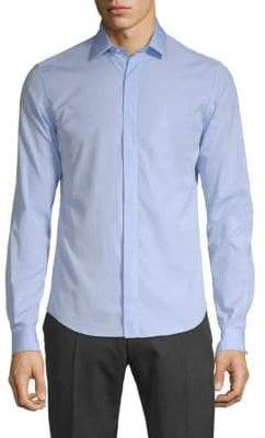 Valentino Spread Collar Cotton Button-Down Shirt