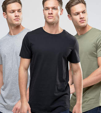 Jack and Jones Originals Longline Curved Hem T-Shirt 3 Pack SAVE