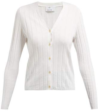 Allude Ribbed Knit Cotton And Silk Blend Cardigan - Womens - Ivory