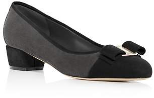 Salvatore Ferragamo Women's Vara Color-Block Suede Low Heel Pumps