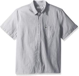 Lacoste Men's Short Sleeve Seersucker Button Down Collar Reg Fit Woven Shirt, CH5007