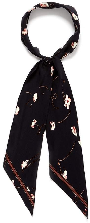 Rockins 'Popcorn' print fringe super skinny silk scarf