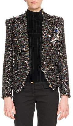 Balmain Multicolor-Tweed One-Button Jacket w/ Patch