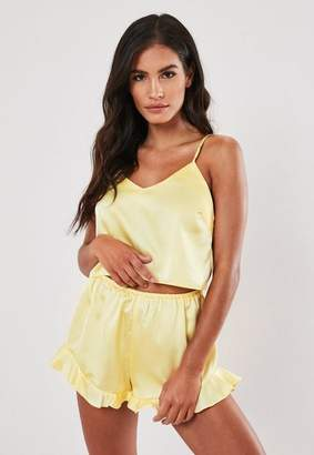 Missguided Yellow Satin Cami Frill Short Pyjama Set