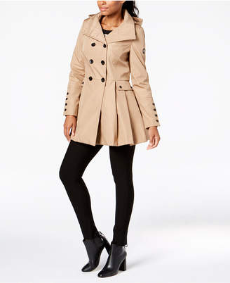 Calvin Klein Double-Breasted Skirted Raincoat