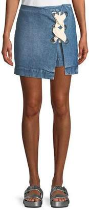 3x1 WS Hollow Denim Skirt with Lace-Up Detail