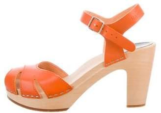 Swedish Hasbeens Leather Peep-Toe Sandals