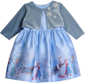 Pippa Disney X & Julie Disney Frozen Border Print Dress W\/Snowflake Shrug Size 2-4T