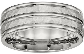 Primal Steel Primal Steel Stainless Steel Polished Hammered and Grooved 8.00mm Band