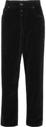 Unravel Project - Baggy Boy Cropped Cotton-blend Velvet Wide-leg Pants - Black