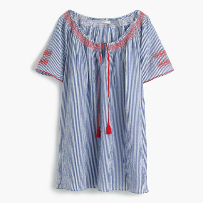 J.Crew Embroidered tie-front tunic