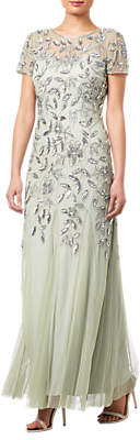 Adrianna Papell Floral Beaded Godet Dress, Mint