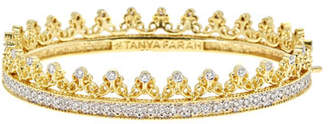 Couture Tanya Farah Royal 18K Gold Scroll Crown Bangle with Diamonds, 2.7tdcw