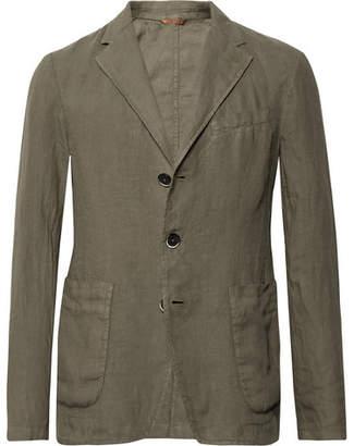 Barena Army-Green Slim-Fit Unstructured Linen Blazer