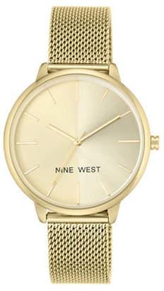 Nine West Split Analog Goldtone Mesh Bracelet Watch
