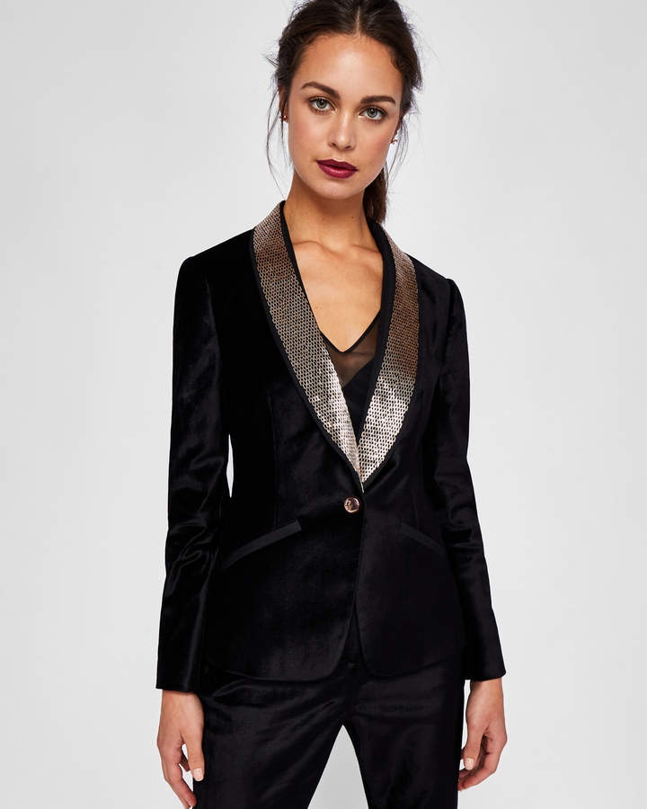 KAIRAA Embellished velvet suit jacket
