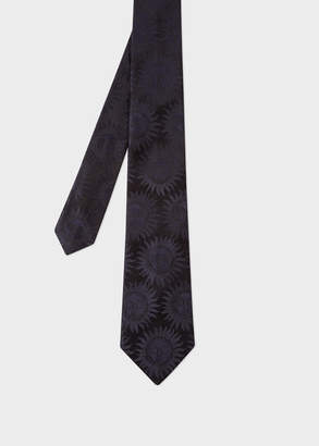 Paul Smith Men's Navy Textured 'Sun' Motif Silk Tie