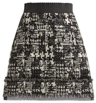 Dolce & Gabbana Houndstooth Tweed Mini Skirt - Womens - Black White