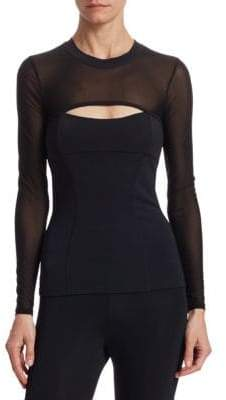 Cushnie et Ochs Dominique Long Mesh-Sleeve Top