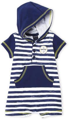 Nautica Newborn Boys) Stripe Hooded Romper