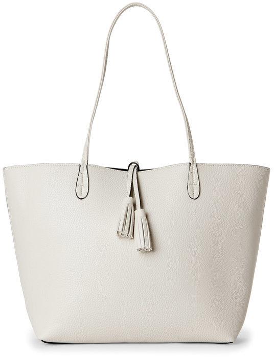 street level Ivory & Black Bag-In-Bag Tasseled Reversible Tote