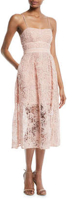 Self-Portrait Floral Lace Sleeveless Midi Cocktail Dress