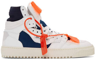 Off-White White and Blue Low 3.0 Off-Court High-Top Sneakers