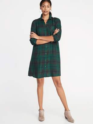 Old Navy Plaid Swing Shirt Dress for Women