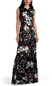 Erdem Women's Lilian Floral Silk Gown - Black Multi