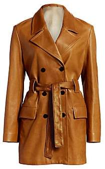 Theory Women's Double Breasted Leather Peacoat