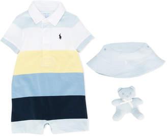 Ralph Lauren striped polo romper, sun hat and teddy bear